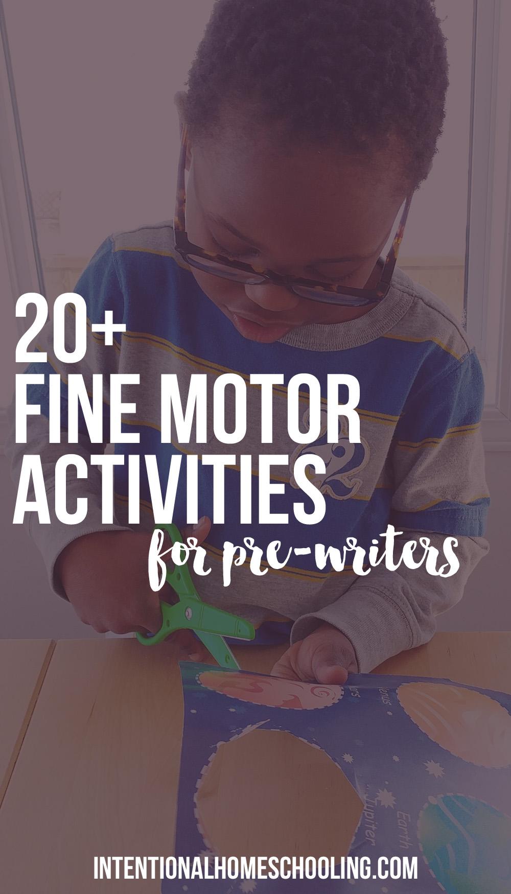 More than 20 activities to help develop fine motor skills in preschool pre-writers.