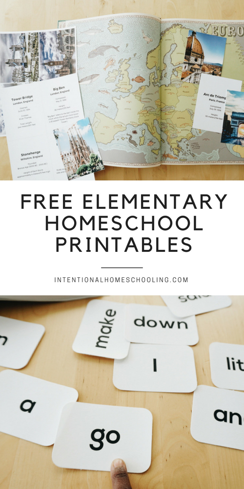 Grab this pack of free printables for your elementary homeschool!