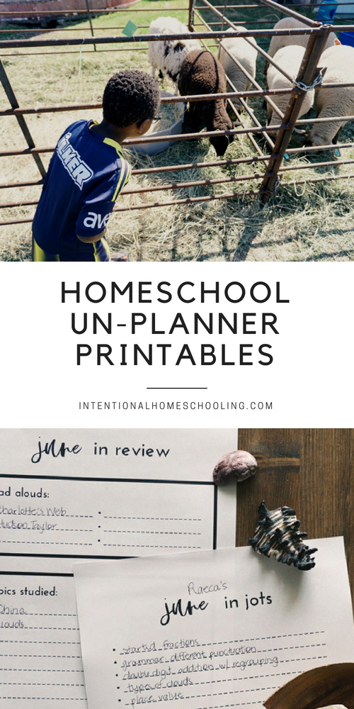 Free printable homeschool unplanning monthly sheets