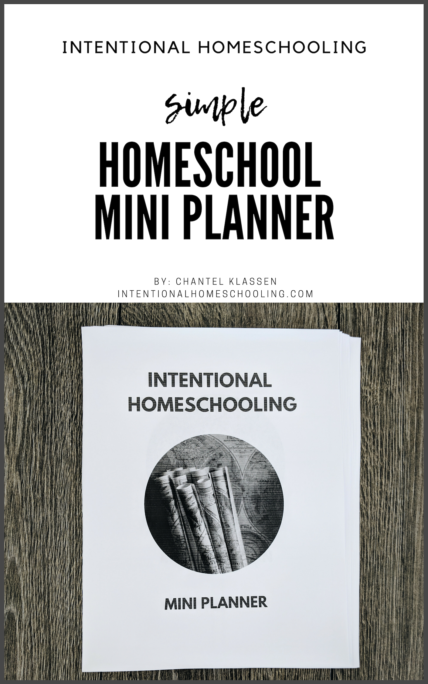 Homeschool Mini Planner - includes monthly planning sheets, weekly record sheets, unit study planner sheets and book lists sheets! Perfect for eclectic and minimal homeschoolers