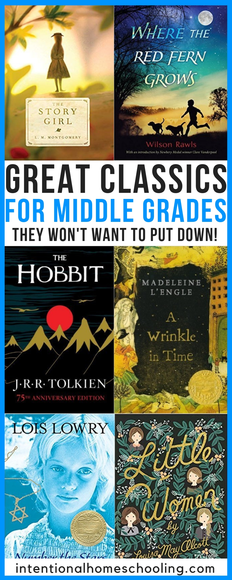 A great list of classics for middle school - grades 5, 6, 7 and 8!