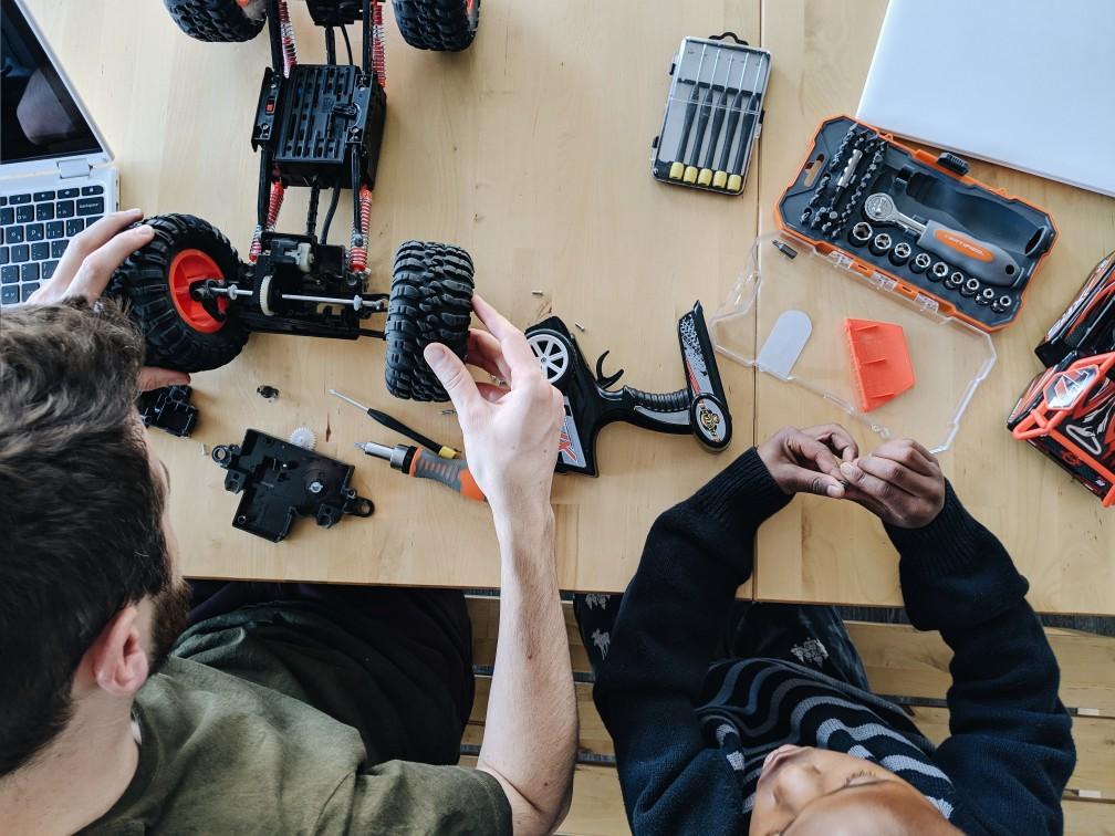 Homeschool Snapshots - taking apart a remote control truck