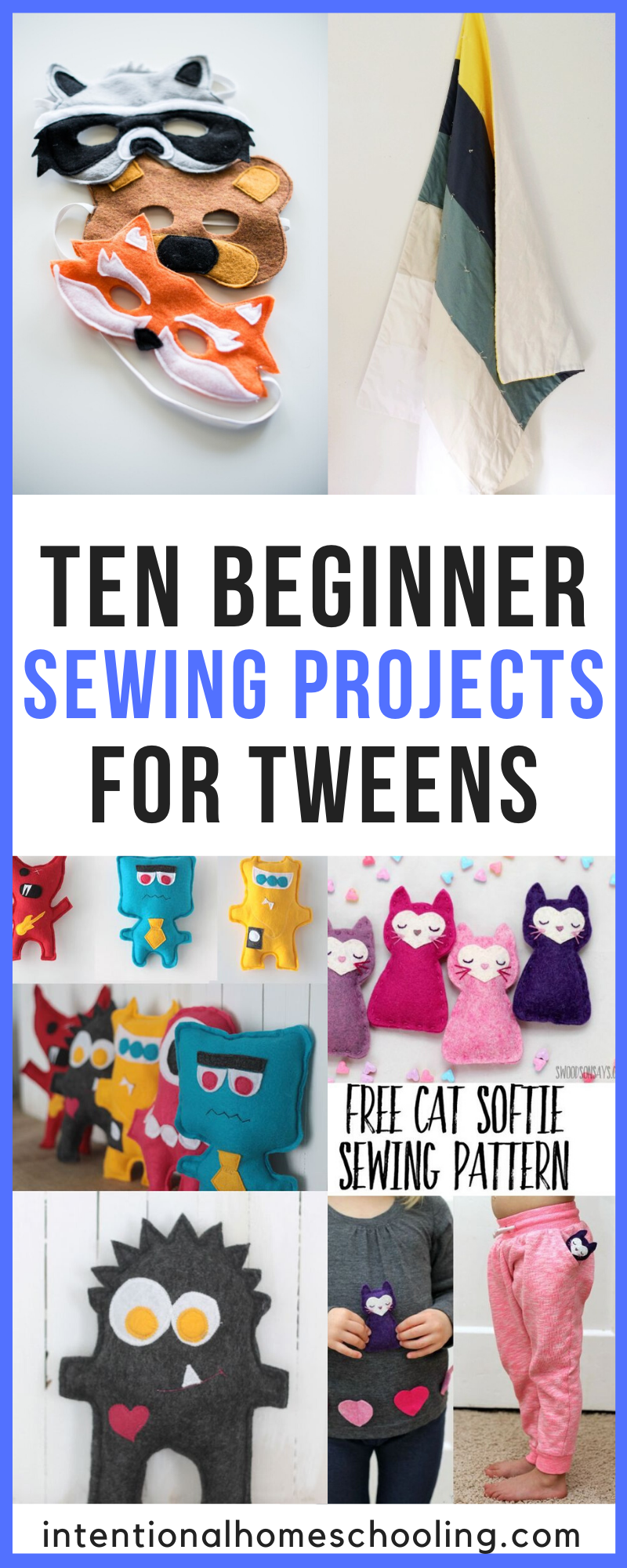 Ten Beginner Sewing Projects - Perfect for Tweens - Homeschool Handicraft Ideas