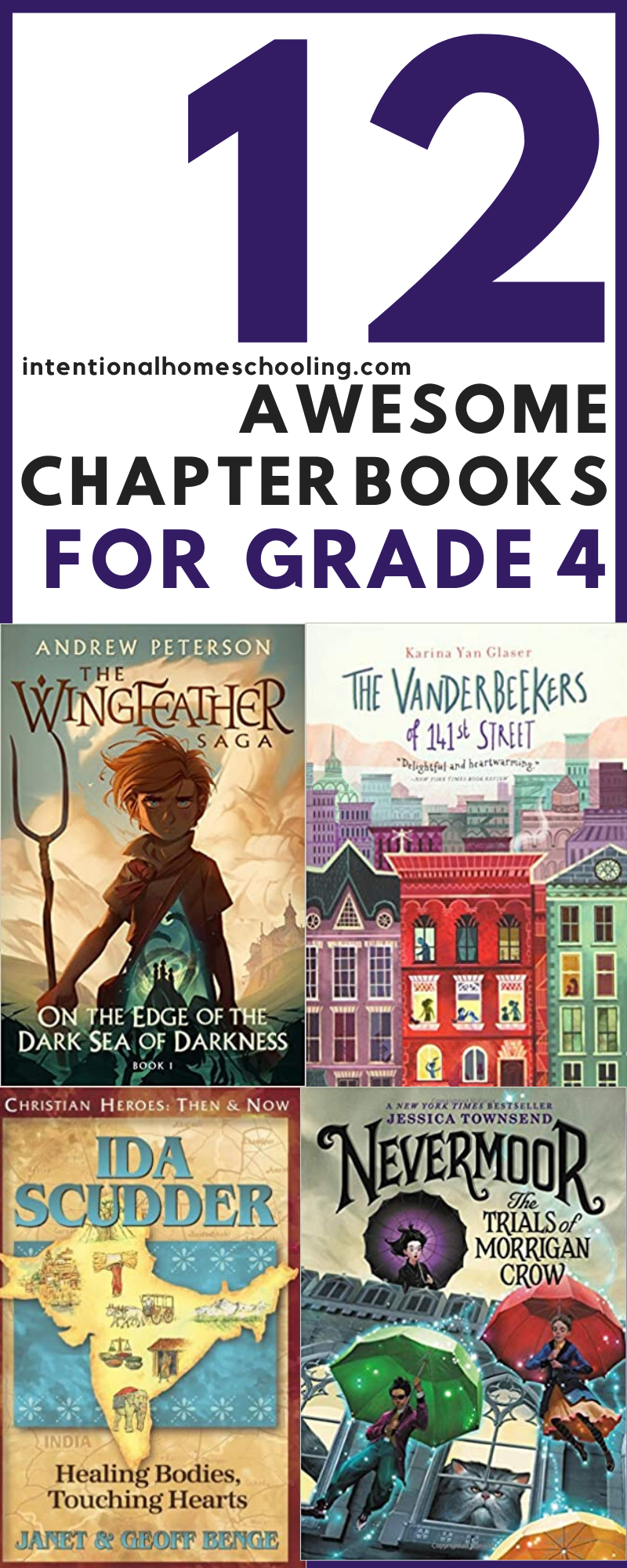 A list of 12 novels that are great for read alouds or read alones for kids in and around grade 4. These are chapter books my daughter read in grade four and loved!